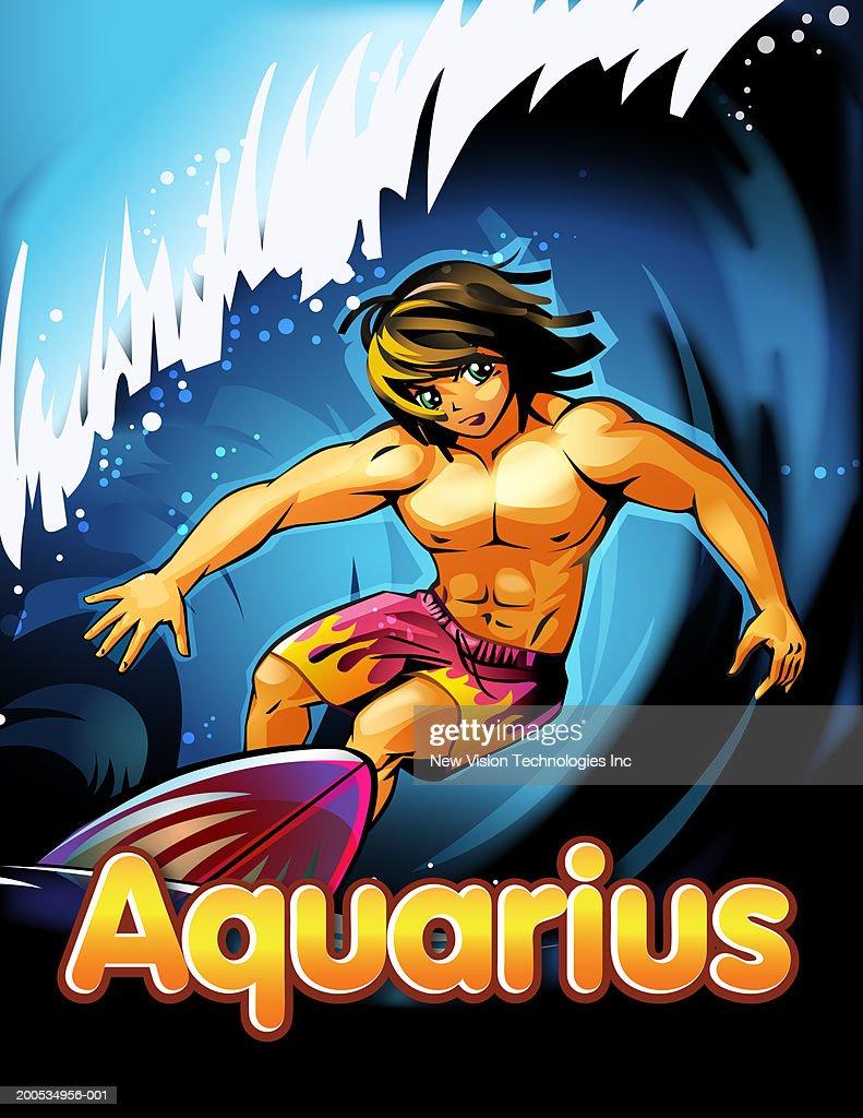 aquarius beneath anime man surfing ilustração de stock getty images