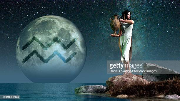 aquarius is the eleventh astrological sign of the zodiac.  its symbol is the water carrier, here depicted as a lovely woman carrying an urn.  - stubborn stock illustrations, clip art, cartoons, & icons