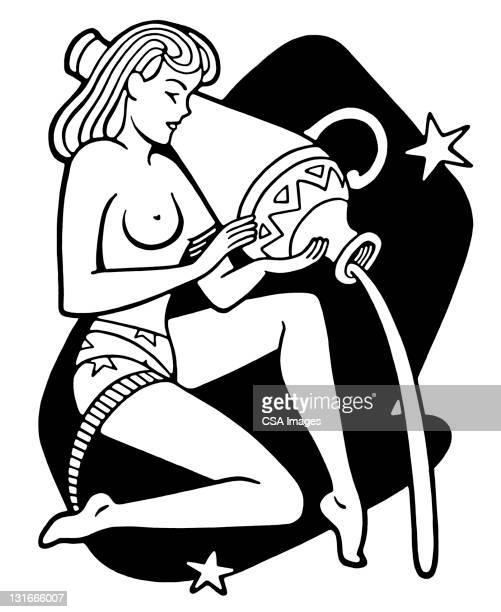 illustrations, cliparts, dessins animés et icônes de aquarius zodiac symbol - signe du verseau