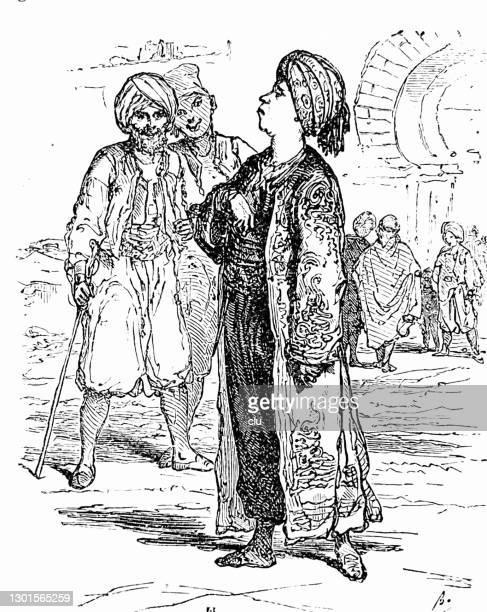 arab men in the city - headdress stock illustrations