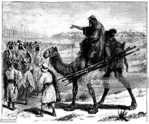 Arab on a camel meeting an approaching army
