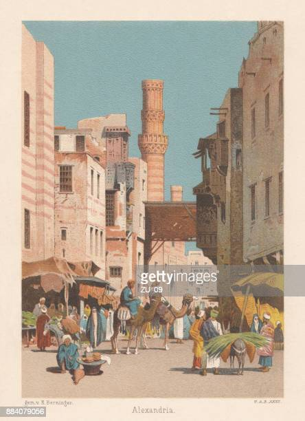 Arab Quarter in Alexandria, Egypt, lithograph, published in 1886