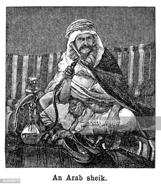 arab sheik engraving 1897 - hookah stock illustrations, clip art, cartoons, & icons