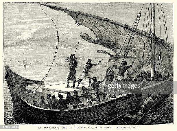 Arab slave-ship in the Red Sea fleeing from Royal Navy