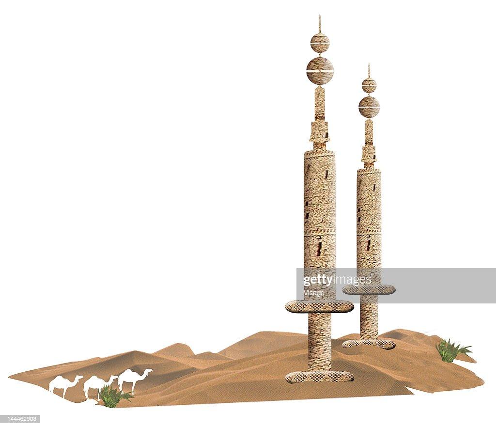 Arab structures in desert : Ilustración de stock