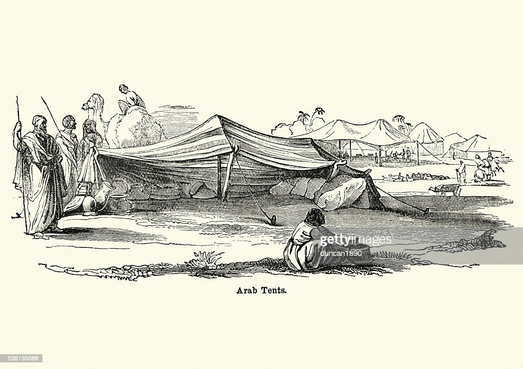 Arab Tents In The Desert 19th Century Stock Illustration Getty Images