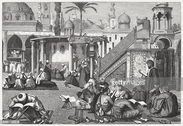 Arab University in Cairo, Egypt, wood engraving, published in 1869