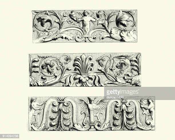 arabesque panels in carved alabaster, flemish - architectural feature stock illustrations, clip art, cartoons, & icons