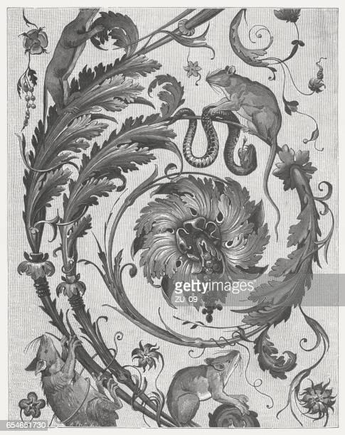 arabesques, painted (c.1519) by raphael and pupils, vatican, published 1884 - renaissance stock illustrations