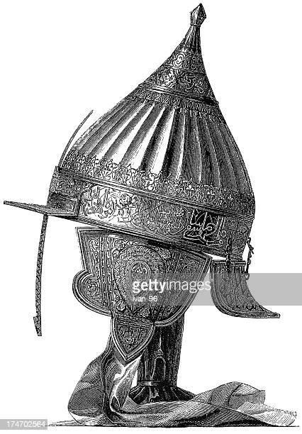 arabian helmet - helmet visor stock illustrations, clip art, cartoons, & icons