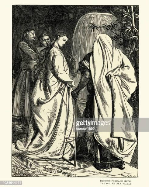 Arabian Nights, Princess Parizade shows the Sultan her palace