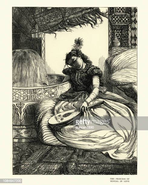 arabian nights, the princess of bengal in love - princess stock illustrations