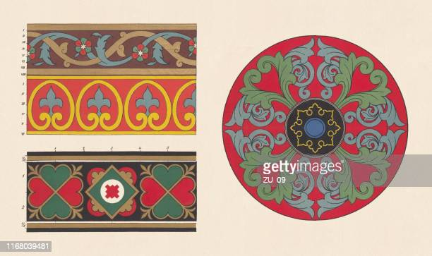 arabian, pompeian, byzantine, and romanesque ornaments, chromolithograph, published in 1881 - embellishment stock illustrations