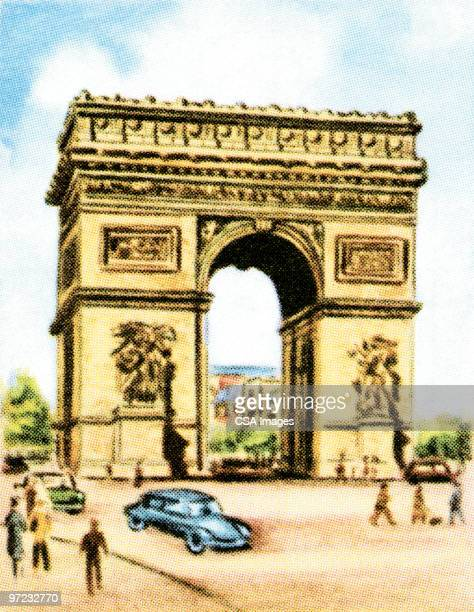 arc de triomphe - france stock illustrations