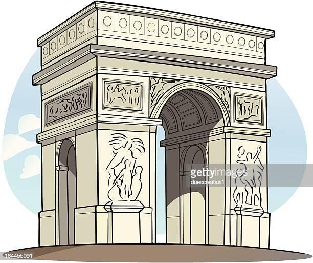 illustrations, cliparts, dessins animés et icônes de arc de triomphe, à paris, france - arc de triomphe