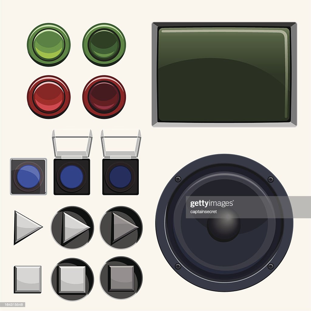 Arcade & Stereo Button Collection : stock illustration