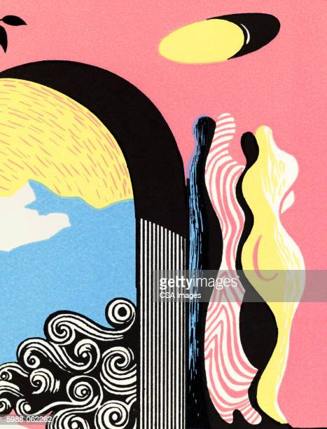 arch, curvy statue - abstract pattern stock illustrations