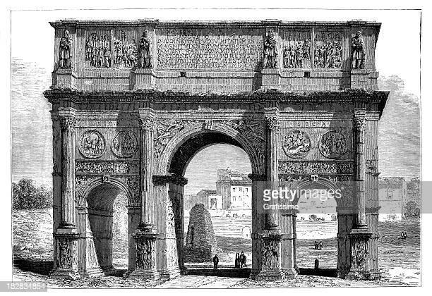 Arco de Constantino em Roma gravação de 1868