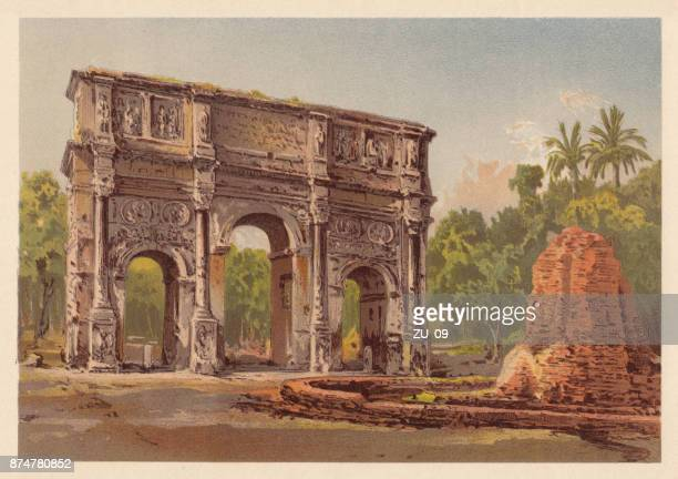 arch of constantine, rome, italy, lithograph, published in 1885 - roman forum stock illustrations