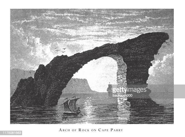 arch of rock on cape parry, forests, lakes, caves and unusual rock formation engraving antique illustration, published 1851 - basalt stock illustrations, clip art, cartoons, & icons