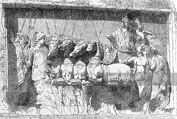 arch of titus bas-relief - roman forum stock illustrations