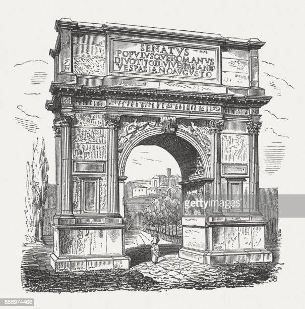 arch of titus in rome, italy, wood engraving, published in 1887 - roman forum stock illustrations