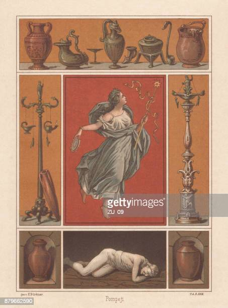 archaeological finds from pompeii, italy, lithograph, published in 1883 - archaeology stock illustrations