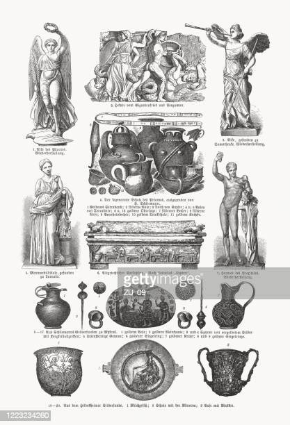 archaeological finds from the 19th century, wood engravings, published 1893 - sarcophagus stock illustrations