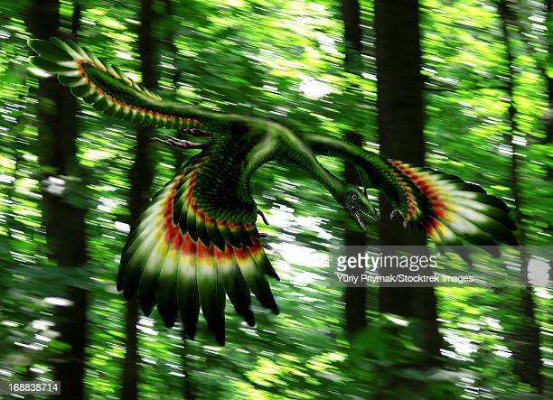 Archaeopteryx flying through a forest.