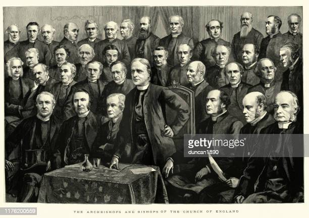 archbishops and bishops of church of england, 1886, 19th century - anglican stock illustrations