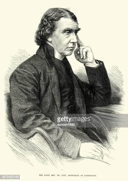 ilustrações, clipart, desenhos animados e ícones de archibald campbell tait, arcebispo de canterbury, 1870 - arcebispo de cantuária