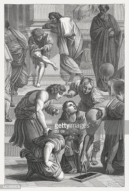 Archimedes (Escola de Atenas), Raphael (italiano), publicado 1878 pintor