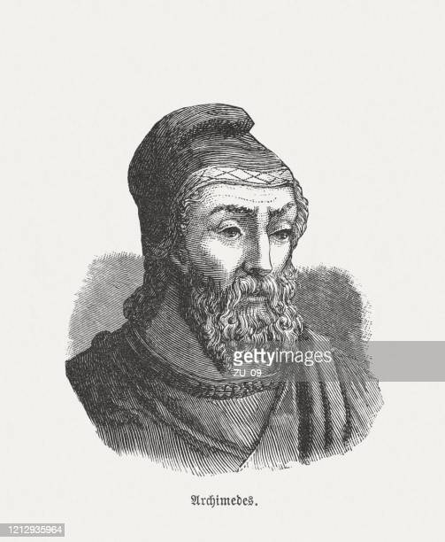 archimedes (c.287 bc-212 bc), greek mathematician, wood engraving, published 1893 - archimedes stock illustrations