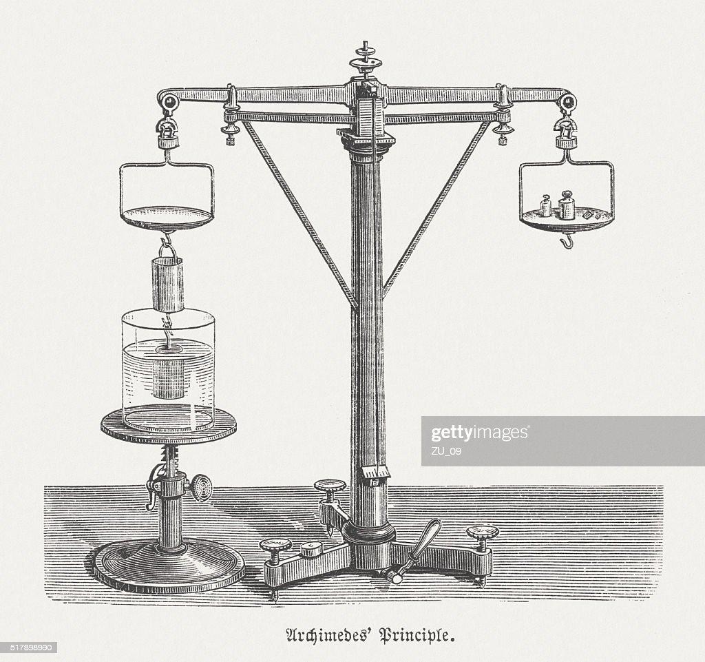 Uncategorized Archimedes Principle Experiment archimedes principle wood engraving published in 1880 stock 1880