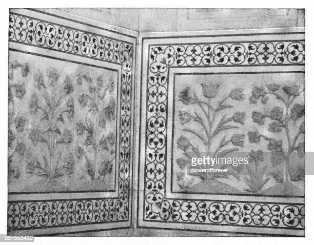 Architectural Detail of the Taj Mahal in Agra, India - British Era