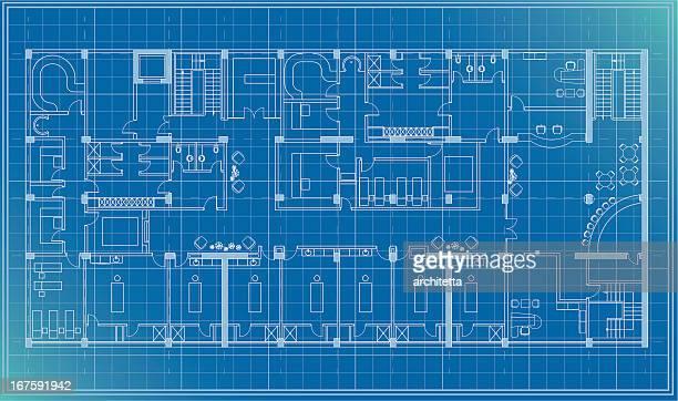 architectural plan blueprint - blueprint stock illustrations