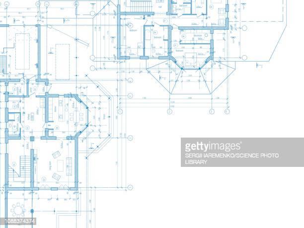 architectural plans, illustration - technische zeichnung stock-grafiken, -clipart, -cartoons und -symbole