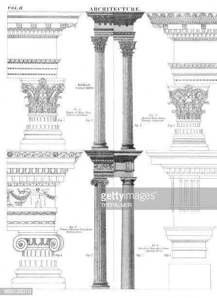 architecture columns engraving 1878 - classical architectural style stock illustrations, clip art, cartoons, & icons