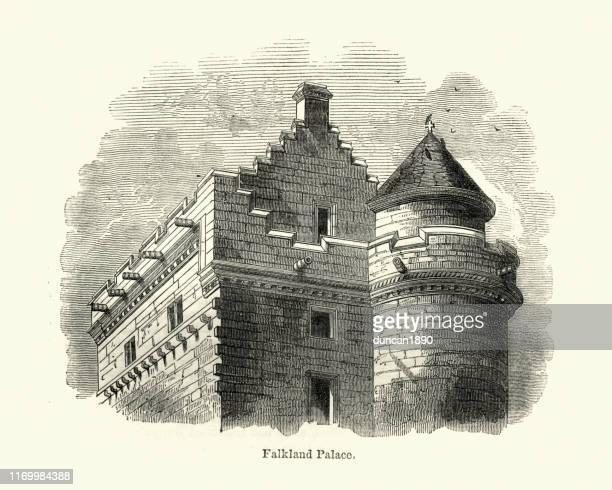 ilustraciones, imágenes clip art, dibujos animados e iconos de stock de arquitectura, detalle del palacio de las malvinas, escocia - islas malvinas