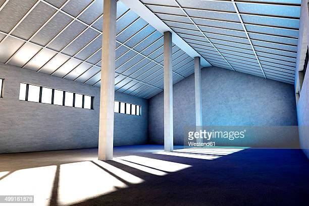 Architecture visualization of an empty industrial building, 3D Rendering