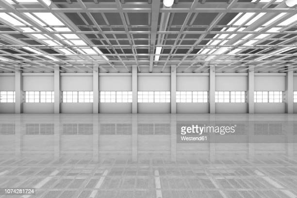 architecture visualization of an empty warehouse, 3d rendering - no people stock illustrations