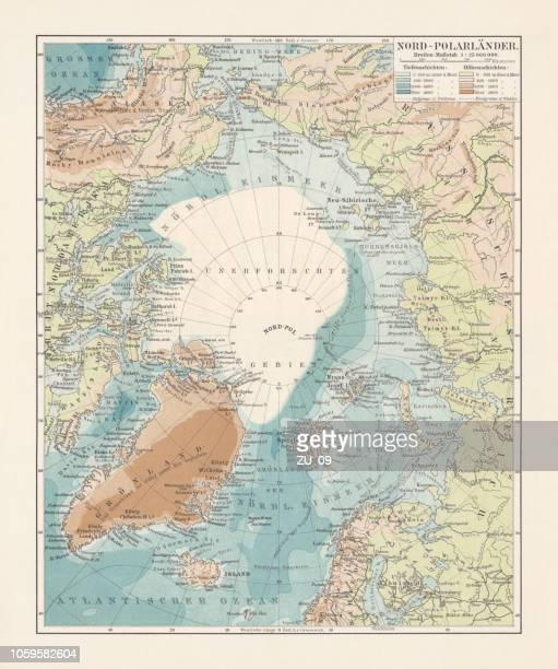 arctic ocean and adjacent countries, lithograph, published in 1897 - bering sea stock illustrations