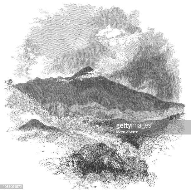 arenal volcano in costa rica (19th century) - stratovolcano stock illustrations, clip art, cartoons, & icons