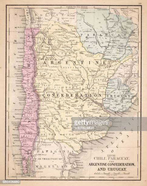 Argentina Chile Urugay map 1867