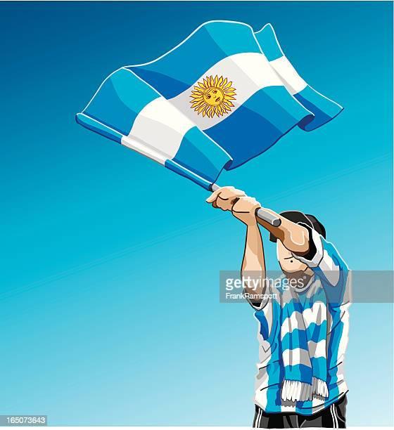 A Fã de Futebol da Argentina Bandeira