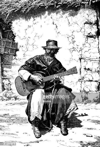 ilustraciones, imágenes clip art, dibujos animados e iconos de stock de argentino gaucho tocando guitarra - puntear un instrumento