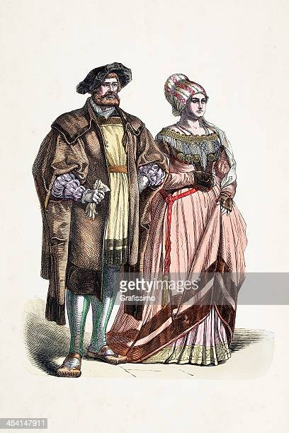 aristocratic german couple in traditional clothing from 16th century - 16th century style stock illustrations, clip art, cartoons, & icons