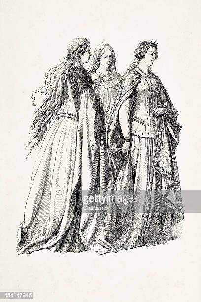 aristocratic women with princess in traditional clothing 14th century - circa 14th century stock illustrations