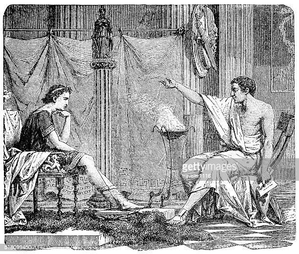 aristotle and alexander - aristotle stock illustrations