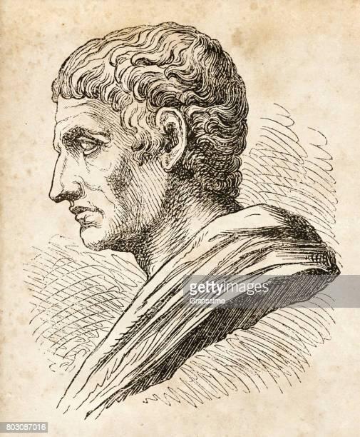 aristotle greek philosopher and scientist portrait - aristotle stock illustrations